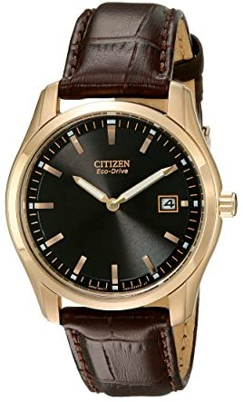 Citizen Eco-Drive Corso Quartz Mens Watch, Stainless Steel with Leather strap, Classic, Brown (Model: AU1043-00E)