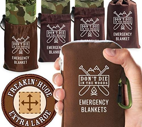 Don't Die In The Woods - Freakin' Huge Emergency Blankets [4-Pack] Extra-Large Thermal Mylar Space Blankets with Ripstop Nylon Stuff Sacks + Carabiner Zipper Pack