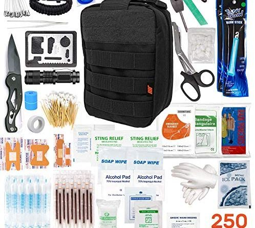 250pcs Tactical First Aid Kit Includes Molle Compatible Bag - Perfect for Hiking Hunting Camping Car Boat Adventures Emergency or Earthquake Safety… (Black)