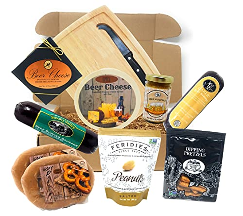 Gourmet Beer Cheese and Sausage Christmas Gift Basket Gift Box Set - Gift for Men - Fathers Day or Birthday, Gift for Dad, Husband, Boyfriend