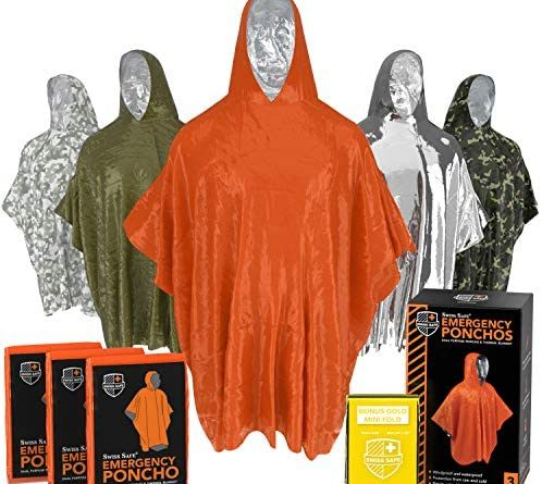 Emergency Rain Ponchos (3-Pack), Reusable Mylar Poncho for Men, Women, Kids, Adults + Emergency Gold Thermal Blanket for Camping, Hiking, & Outdoors (Orange)