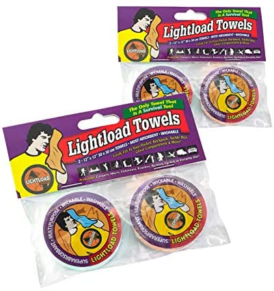 Lightload Towels Compressed Wash Cloth Hand/Face Washable Disposable Non Microfiber Magic Towel Fast Dry Mini Pack Travel Camp Towel .2oz 2x2 Packs 12x12