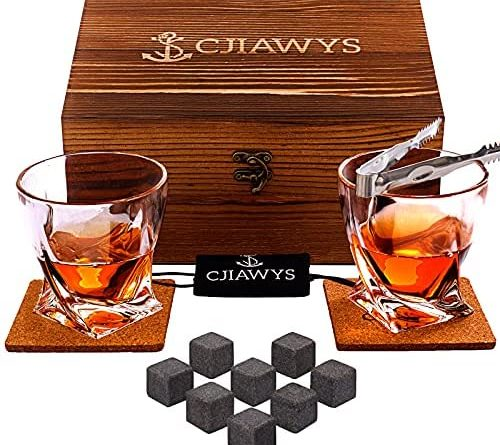 Whiskey Stones Gift Set, Birthday Gifts for Men Dad, Anniversary Wedding Gifts for Him Husband Boyfriend Grandpa Brother, Unique Bourbon Scotch Whiskey Glass Set of 2 for Boss Friends Drinker Present
