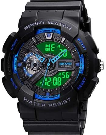 Mens Digital Sport Watch Large Face Sports Outdoor Waterproof Military Wrist Watches for Men with Date Multifunction Tactics LED Army Stopwatch