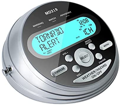 Emergency NOAA Weather Alert Radio S.A.M.E Localized Programming, 23 County Code and 80+ Emergency Alerts with Customize Setting, AM FM Radio with Alarm Clock, Extra Antenna&Warning Lights