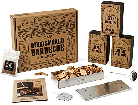 The Original Wood Smoked Grill Kit - 8 Piece BBQ Set | Top Grilling Gifts for Dad, Grill Sets for Men, BBQ Gifts for Men | Stainless Steel Barbeque Grill Accessories + All-Natural Smoker Wood Chips