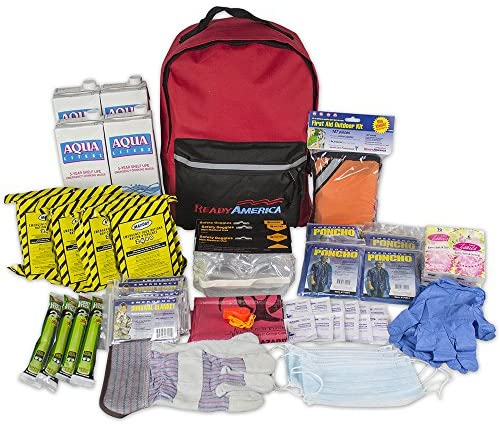 Ready America 70380 72 Hour Emergency Kit, 4-Person, 3-Day Backpack, Includes First Aid Kit, Survival Blanket, Portable Preparedness Go-Bag for Camping, Car, Earthquake, Travel, Hiking, and Hunting, Red