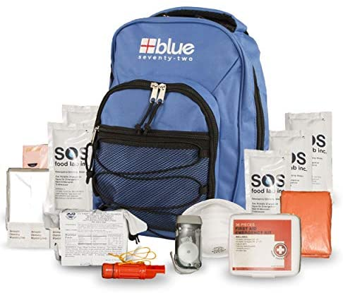 Blue Coolers Blue Seventy-Two   72 Hour Emergency Backpack Survival Kit for 1 Person   Survival Kit for Roadside, Earthquakes, Tornado, Hurricane, and Other Emergencies
