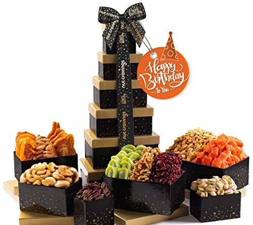 Happy Birthday Gift Basket, Nut & Dried Fruit Tower + Black Ribbon (12 Piece Assortment) Arrangement Platter, Care Package Variety, Healthy Food Tray, Kosher Snack Box for Mom, Women, Men, Adults