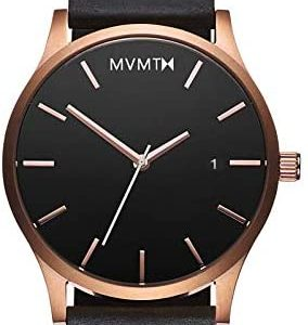 MVMT Classic Mens Watch, 45MM   Leather Band, Minimalist Watch, Analog with Date