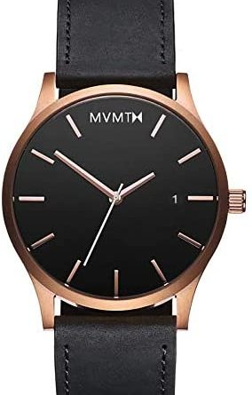 MVMT Classic Mens Watch, 45MM | Leather Band, Minimalist Watch, Analog with Date