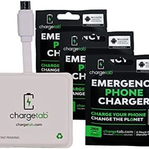 ChargeTab 3 Pack Micro USB Emergency Portable Charger for Cell Phones, Gaming Devices, Controllers & Electronic Devices, Pre-Charged Battery Pack (2900Ah Each)