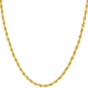 LIFETIME JEWELRY 2mm Rope Chain Necklace 24k Real Gold Plated for Women and Men