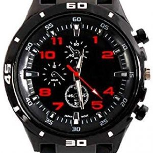 Men's GT Racer Sport Watch Military Pilot Aviator Army Style Black Silicone Mens Watch