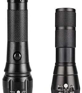 1 Long Flashlight + 1 Short Flashlight, 1000LM LED Flashlights with 5 Working Modes, Zoomable Torch, IP65 Waterproof