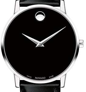 Movado Classic Museum 0607312 Black Dial Leather Strap Men's Watch