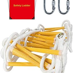 Emergency Fire Escape Ladder Flame Resistant Safety Rope Ladder with Hooks Fast to Deploy & Easy to Use Compact & Easy to Store Withstand Weight up to 2000 pounds (4 Story 32FT)