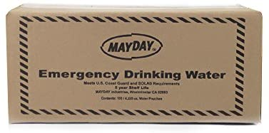 Mayday Pouch Water, 73011, Coast Guard Approved Emergency Water, 5-Year Shelf LIfe, Emergency Preparedness Supplies for Disasters, Camping, Hiking, Leak-Proof Pouches, 4.225 Oz/125Ml 100 Pack
