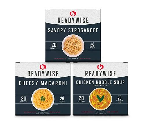 ReadyWise Emergency Food Entrée Box Kit, Freeze-Dried and Dehydrated Meals for Camping, Food Storage, and Emergency Prep, 60 Servings