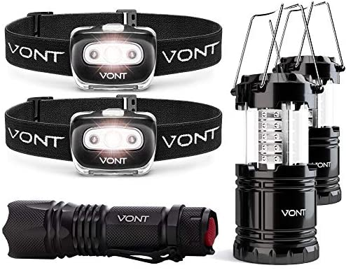 Vont Ultimate Outdoor Lighting Bundle - Lantern, Spark Headlamp 2-Pack, Flashlight - Must-Have for Every Home - Ideal Light Partner for Emergencies, Car Breakdown, Power Outages During Storms