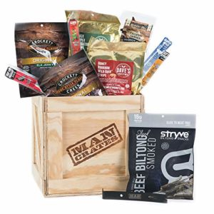 Exotic Meats Crate – Includes 10 Rare Jerky Flavors Like Venison, Wild Boar, Elk and More – Ships In A Sealed Wooden Crate With A Laser-Etched Crowbar – Ultimate Gift For Meat Lovers