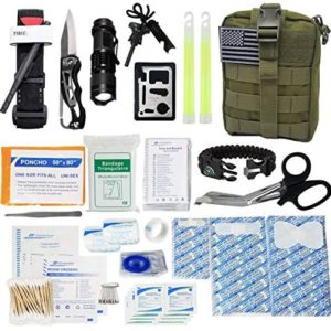 GOOD JOURNEY Emergency Survival First Aid Kit with Tourniquet and Tactical Outdoor Gear Bag for Earthquake, Camping, Car or Home Disaster Preparedness