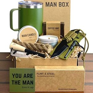 Man Gift Box   Fun Outdoor Men Gifts - Camping Ferro Rod Fire Starting Rope Knife Candle Soap & Tumbler   Guy Birthday Boxes for Adventurous Outdoorsy Guys Dad Son Boyfriend Husband
