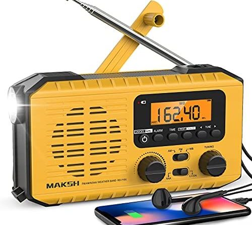 MAKSH Emergency Radio, 5-Way Powered NOAA Solar Hand Crank Weather Radio with LCD Display, Portable Radio with AM/FM/WB, 2200mAh Power Bank Cell Phone Charger, LED Flashlight, SOS Alarm (Yellow)